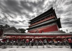 Rickshaws in front of the ancient bell tower - photo from #treyratcliff at http://www.StuckInCustoms.com - all images Creative Commons Noncommercial