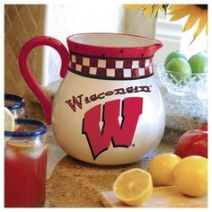 University of Wisconsin Badgers Pitcher Ceramic Drink Pitcher