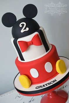 Mickey Mouse themed cake by K Noelle Cakes