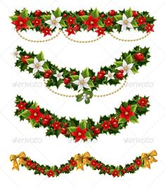 Buy Green Christmas Garlands of Holly by azuzl on GraphicRiver. Green Christmas garlands of holly and mistletoe and bow Green Christmas, Christmas Art, Christmas Decorations, Xmas, Christmas Garlands, Victorian Christmas, Vintage Christmas, Holly Pictures, Christmas Templates