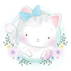 Cute Little Kitty Portrait, Watercolor, Birthday, Baby PNG and Vector with Transparent Background fo Colorful Drawings, Cute Drawings, Cute Illustration, Watercolor Illustration, Cute Images, Cute Pictures, Dads Little Girl, Scrapbooking Image, Cute Pink Background