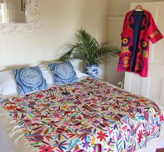 Traditional Mexican Bedspread - Multi