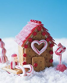 """""""Gingerbread"""" houses made out of graham crackers, tiny but fun"""