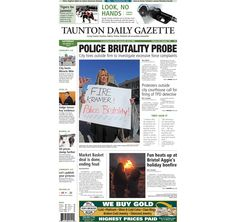 The front page of the Taunton Daily Gazette for Saturday, Dec. 13, 2014.