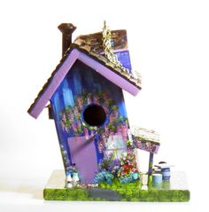Blue and Lavender Bird House Handmade Hand by BirdhouseBlessings, $89.00