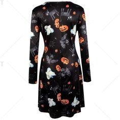 Pumpkin Halloween Print Long Sleeve Mini Swing Dress - BLACK S