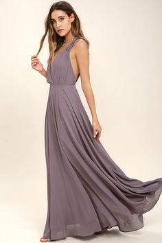 Dance the Night Away Dusty Purple Backless Maxi Dress 2