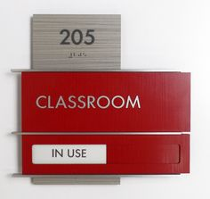 Fusion Quad ADA Compliant Interior Classroom ID Sign with Slider and 3 Form Backer