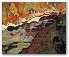"MacDonald, Canadian Group of Seven - ""Batchawana Rapids, Algoma"" Group Of Seven Artists, Group Of Seven Paintings, Emily Carr, Canadian Painters, Canadian Artists, Landscape Art, Landscape Paintings, Tom Thomson Paintings, Art Nouveau"