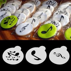 3pcs Music Note Cookie Stencils Set Template Cupcake Decorating Tools Cookie Cake Stencils Template Pad Spray Tools