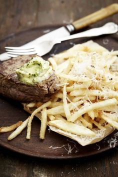 Thin cut fries and  truffle butter