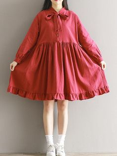 Loose Bow Tie Pure Color Long Sleeves Dresses For Women - Specification: Sleeve Length:Long Sleeve Neckline:Bow Tie Color:Red Style:Casual,Fashion Pattern:Pure Color Material:Polyester,Cotton Season:Spring,Autumn Package Frock Fashion, Red Fashion, Women's Fashion Dresses, Korean Fashion, Womens Fashion, Dress Shirts For Women, Casual Dresses For Women, Plus Size Dresses, Cute Dresses