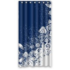 Custom Waterproof Bathroom Shower Curtain 36 x 72 Ocean Theme Sea Life Seashell Shell Conch Navy Blue -- Learn more by visiting the image link.