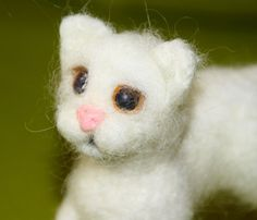 sweet white Cat  needle felted miniature small animal by nutkaart