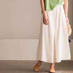 White cotton linen pants trousers