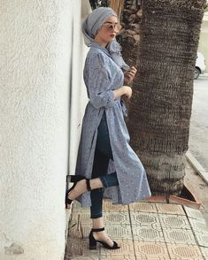 Summer hijab outfit 💙 hijab outfits в 2 Hijab Fashion Summer, Modern Hijab Fashion, Muslim Fashion, Modest Fashion, Fashion Outfits, Ootd Hijab, Hijab Chic, Hijab Dress, Nike Hijab