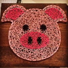 """This listing is for a Pig string art sign that would be perfect for any pig lover! This sign measures approximately 9.25"""" x 10"""". Boards can be stained with Special Walnut, Dark Walnut, or Classic Gray (examples above). Please include color choice in note to seller. If no stain"""
