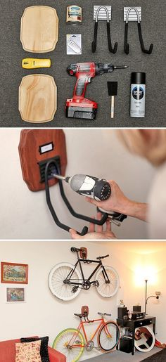 """Creative DIY bike storage racks to solve the """"how to store bikes"""" question! These DIY bike racks are inexpensive to make and are simple projects! Laundry Room Storage, Garage Storage, Diy Garage, Garage Shelving, Basement Storage, Wall Storage, Diy Bike, Bike Storage Apartment, Bike Storage Rack"""