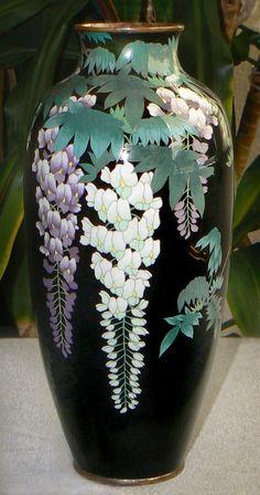 Japanese Cloisonné Enamel Vase with Wisteria