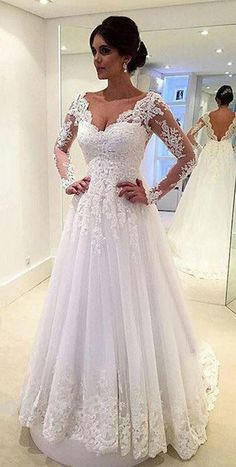 Lace Beach Wedding Dress, V Neck Wedding Dress, Long Sleeve Wedding, Bridal Lace, Dream Wedding Dresses, Wedding Attire, Bridal Dresses, Wedding Gowns, Lace Wedding