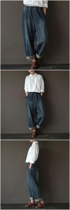 Vintage loose jeans women's trousers