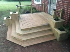 Best deck stairs to patio front porches 38 ideas Front Porch Deck, Porch Stairs, Front Porches, Front Yards, Deck With Stairs, Diy Front Porch Ideas, Front Porch Makeover, Diy Porch, Backyard Makeover