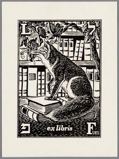 Fuks] ~ ex libris Ex Libris, Locuciones Latinas, Fox Illustration, Personalized Books, Tampons, Linocut Prints, Gravure, Book Authors, Bookbinding