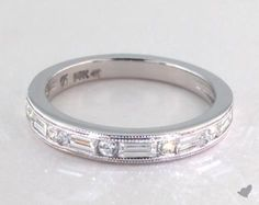 14K White Gold Baguette and Round Channel Set Ring