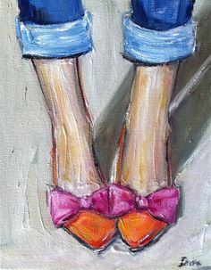 Pink Orange Shoes Print by DevinePaintings on Etsy