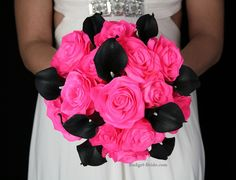 Samantha Wedding Flower Package Artificial wedding bouquet in hot pink roses and real touch black calla lilies.