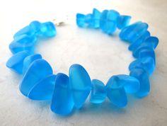 Seaglass Sea Glass Bracelet Aqua Blue Turquoise