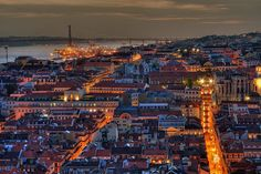 Lisbon seen from S. See in Photo Before the original photo before HDR treatment. Here are the most Popular Pictures from my stream. Places Around The World, Around The Worlds, Portuguese Royal Family, City Skyline Night, Paris Skyline, Lisbon City, Night Scenery, Portuguese Culture, Exotic Beaches
