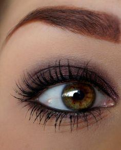 Beautiful warmer look for Dark Winter. Same look can be achieved using something like MAC Satin Taupe with MAC Photogravure or Lancome Black Coffee eyeliner.