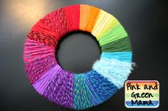 Pink and Green Mama: Anytime Craft:Rainbow Yarn Wrapped Color Wheel