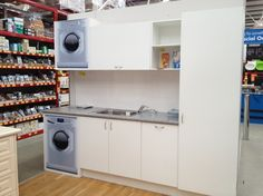 things we re doing ourselves building the sorrento by Laundry Bathroom Combo, Laundry Area, Laundry Room Design, Bunnings Laundry, Exterior Design, Interior And Exterior, Stacked Washer Dryer, Colour Schemes, Home Appliances