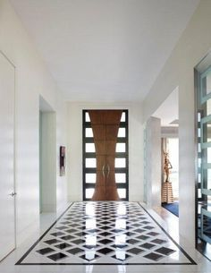 21 Best Modern Entry Design Ideas Not only do we like the front door but also the glass feature on the left of the picture Foyer Design, Design Entrée, Deco Design, Tile Design, Design Ideas, Blog Design, Modern Home Interior Design, Modern House Design, Hall Interior
