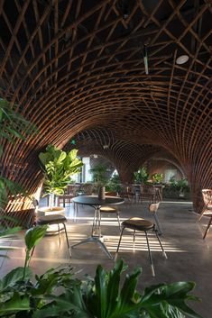 Nocenco Cafe | VTN Architects #Bamboo #brick #Concrete #NocencoCafe #Renovation #Structure #TrieuChien #Vietnam #Vinh #VotrongNghiaArchitects #VTNArchitects #Wood Interior Garden, Cafe Interior, Interior Exterior, Bamboo Architecture, Amazing Architecture, Interior Architecture, Dome Structure, Bamboo Structure, Backyard Fort