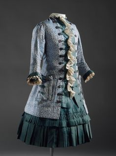 Girl's dress, silk brocade and satin trimmed with lace, with shell buttons, c. 1885, English.