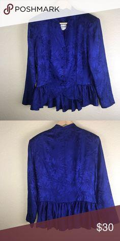 Spotted while shopping on Poshmark: Vintage Silk Royal Blue Jacquard Peplum Top! #poshmark #fashion #shopping #style #Vintage #Tops