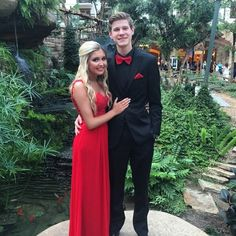 Senior prom, red two piece lace dress with matching black and red tux Lamar prom 2015 Insta @lynseyhencke