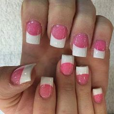 Creative Ways To Do Pink And white Ombre Nails With Glitter White Tip Acrylic Nails, Pink Tip Nails, Pink Ombre Nails, Square Acrylic Nails, Hot Nails, Fancy Nails, Glitter Nails, Sparkle Nails, Glitter Makeup