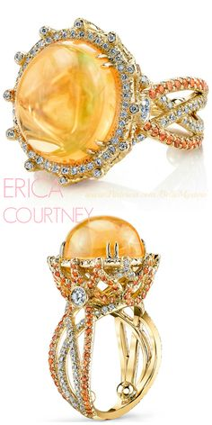 ERICA COURTNEY | Mexican Fire Opal Ring | 18K Yellow gold ring featuring a 9 ct. Mexican Fire Opal, 1.34 ctw. of Orange Sapphires and 0.87ct. of Diamonds | La Beℓℓe ℳystère