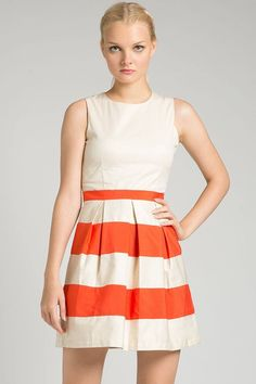 Orange Marmalade Dress by Teatime IDR 250.000. A simple sleeveless dress with stripes pattern on the bottom and zipper on back for closure.