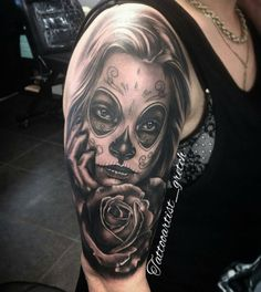 Day of the dead girl by by mexicanstyle_tattoos Day Of The Dead Girl, Day Of The Dead Skull, Love Tattoos, I Tattoo, Candy Tattoo, Sugar Skull Girl, Sugar Skull Tattoos, Tatting, Piercings