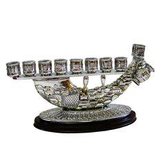 Chanukah Shofar Menorah Candle holder Jerusalem, Silver 925, Candlestick Judaica