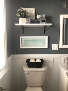 check out this neutral gray bathroom with white board and batten love this one room - Bathroom Decor