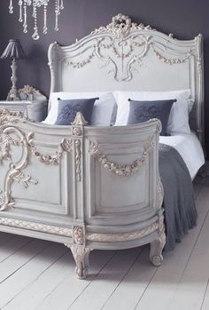 Ornate French Provincial Bed + Calming Grey Colour Scheme