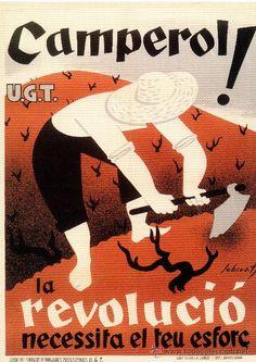 CARTELL CATALÀ GUERRA CIVIL. CAMPEROL! LA REVOLUCIÓ NECESSITA EL TEU ESFORÇ. JOSEP SUBIRATS, 1937. (Papel - Carteles Gran Formato - Carteles Guerra Civil)