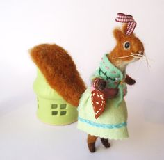 Original Animal Needle Felted Festive Squirrel with Gingerbread Heart