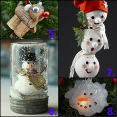 Accessories. Attractive Christmas Crafts Design Ideas. Charming Christmas Craft Design Ideas Come With White Head Snowman Craft Ball With Green Maple Leaf And Red Christmas Hat Snowman And Brown Wine Cork Deer Ornament Along With Clear Glass Jar With Snowman Ornament In It As Well As White Gingerbread Snowman Decoration